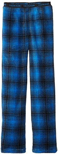 Calvin Klein Big Boys' Ck Blue Plaid Plush Pajama Pant, Strong Blue, 10/12 front-720519