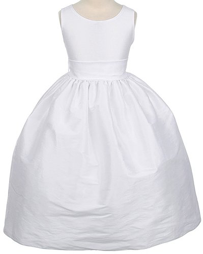 Girl'S V-Back Polysilk Tea-Length Special Occasion Dress - White - 6