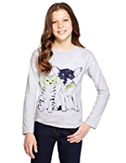 Pure Cotton Cat & Dog Print T-Shirt