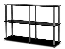 Furinno 99130BK/GY Turn-N-Tube 3-Tier Double Size Storage Display Rack, Black/Grey