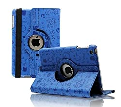 RKA iPad 4 3 2 Magnetic Cute Cartoon Leather Case Smart Cover Dark Blue