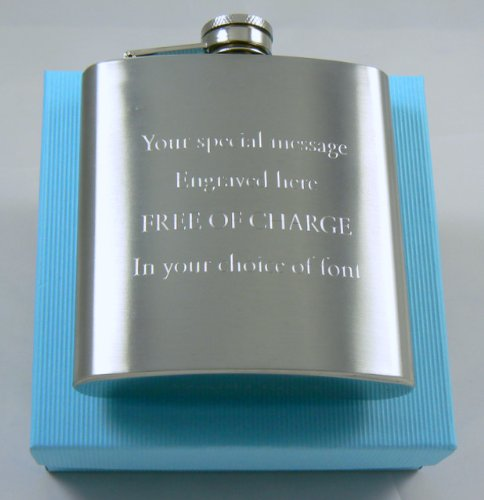 Stainless Steel 6oz Hip Flask Custom Gift, Engraved Free With Your Message, Free Gift Box