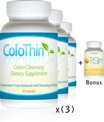 ColoThin Colon Cleanse Detox, 3 bottle special !! 45 count each, Bonus TriSlim Weight loss bottle, Dietary Supplement