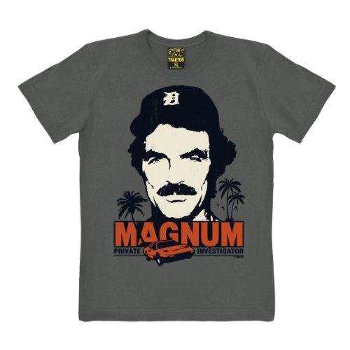 T-shirt Magnum - maglia Magnum, P.I. - Il investigatore - Cult del film - maglietta girocollo - grafite - t-shirt originale della marca TRAKTOR®, taglia L