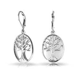 Mothers Day Gifts Oval Mother of Pearl Tree of Life Leverback Dangle Earrings 925 Silver
