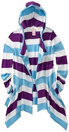 Design History Big Girls' Hooded Wrap Cardigan, Cool Turquoise/Pretty Purple, 10