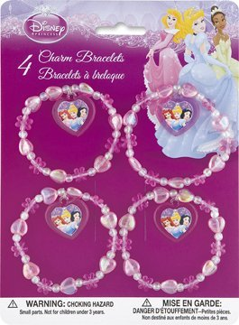 Disney Princess Party Favors - 4 charm bracelets