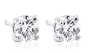 1/2 CT Total Weight Diamond Stud Earrings 14K White Gold GH I1 Clarity