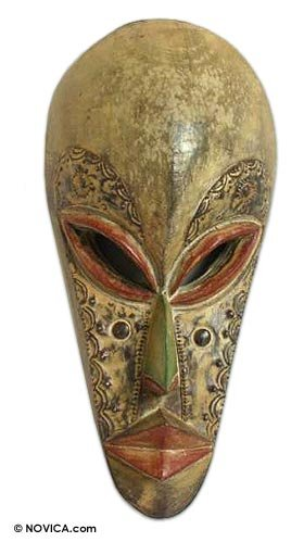 NOVICA Decorative Hausa Wood Mask, Beige 'Forgive Me'