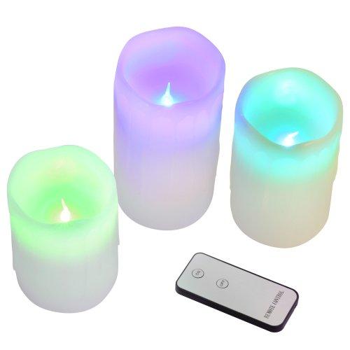LED-Echtwachs-Stumpenkerze-Wachskerze-Kerze-Mengenwahl-mit-Fernbedienung-Farbwechsel
