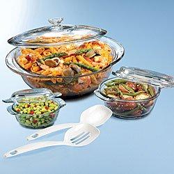 Anchor Hocking 3 Piece Casserole Glass Bakeware Set With Bonus 2 Piece Kitchen Tool Set