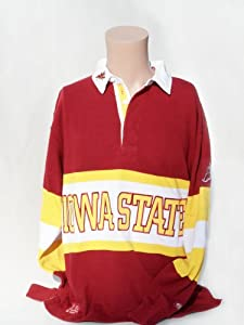NCAA Iowa State Cyclones Mens Panel Rugby Shirt, Cardinal Yellow by Donegal Bay