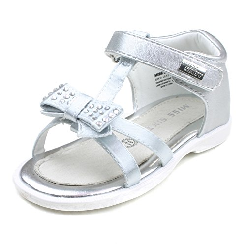 MS735 Miss Sixty Girls Closed Back Sandal with Bow & Diamontes in Silver Metalic Taglia 21