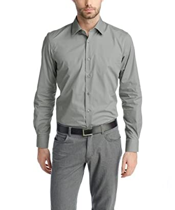 ESPRIT Collection Chemise de travail  Col chemise classique Manches longues Homme -  Gris - Grau (036 SEAGULL GREY) - FR : Small (Taille fabricant: S)