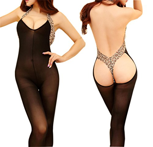 [AnVei-Nao Womens Sexy Lingerie Body Halter Leopard Stocking Bodysuit Nightwear] (Sexy Outfit Women)
