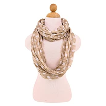 Premium Polka Dot Infinity Loop Fashion Scarf, Brown