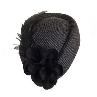 sur la tete Paris Pillbox Headband (1-Size, Black/Grey)