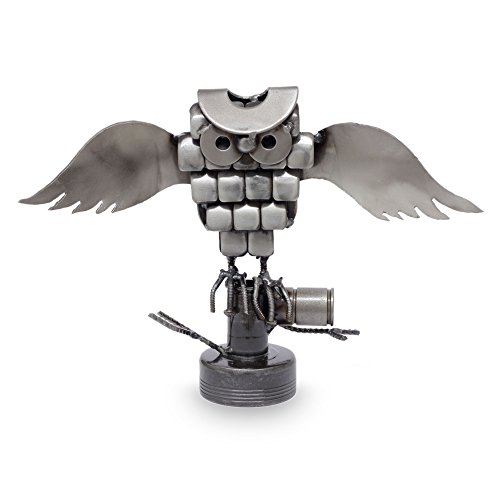 Iron Statuette, 'Rustic Horned Owl' - Eco-Friendly Recycled Metal Rustic Bird Sculpture front-585138
