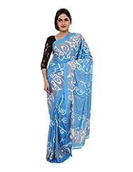 Chandan Sarees Self Print Sky Blue With Grey Print Saree