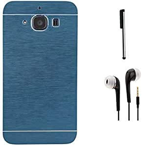 Tidel Durable Aluminium Brushed Metallic Back Cover For Xiaomi Redmi 2s (Blue) With 3.5mm Handsfree Earphone & Stylus