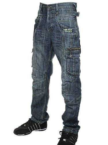 New Mens Blue Police 883 Designer Denim Jeans Size L30 W26