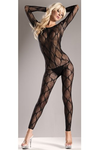 Be Wicked Costumes BOW DESIGN LONGSLEEVE FOOTLESS BODY STOCKING
