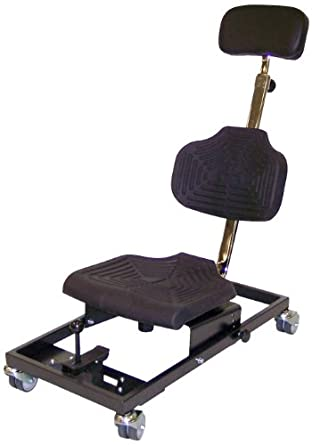 "Milagon Brio WS1281 Polyurethane Workseat on Steel Base Chair with 4 Casters, 14"" Width x 12"" Depth Seat Dimension"