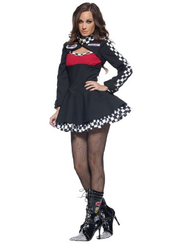 Womens Race Car Driver Costume Black Mini Dress Long Sleeve Sports Theatre Costu