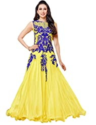 Suchi Fashion Heavy Embroidery Yellow And Royal Blue Net Semi Stitched Party Wear Anarkali Suit