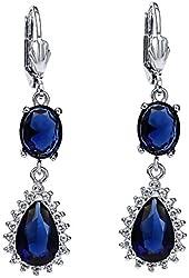 Stunning Pear & Oval Shape Blue Sapphire Color Cubic Zirconia CZ Dangle Earrings