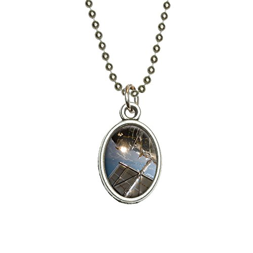 Hubble Telescope - Astronomy Space Antiqued Oval Charm Pendant With Chain