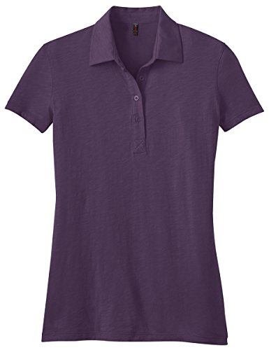 District Made Women'S Short Sleeve Perfect Polo Shirt_Eggplant_Medium