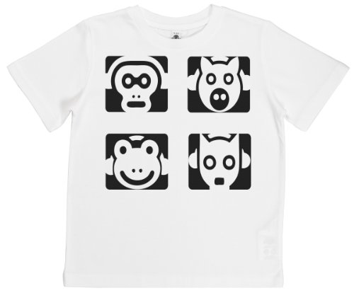 Phunky Buddha - Animal Squares Unisex Kids T-Shirt 5-6 Yrs - White front-647636