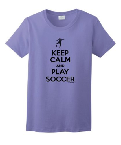 Keep Calm And Play Soccer Ladies T-Shirt Small Violet