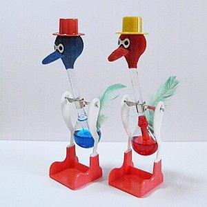 水飲み鳥【日本製】 幸福鳥 ハッピーバード ペア(赤&青)
