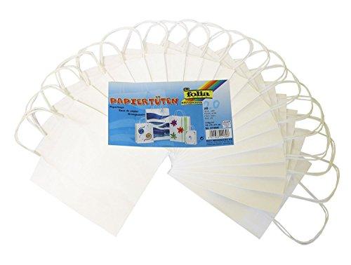 Folia 21800 - Papiertüten Kraftpapier, 18 x 8 x 21 cm, 20 Stück, weiß von Folia