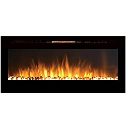 Sydney 50 Inch Pebble Recessed Pebble Wall Mounted Electric Fireplace from Gibson Flame