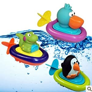 Sassy Pull Go Boat Baby Bath Toys Inspire Exploration Penguin/pelican/dinosaur Cartoon Style Lovely Gift