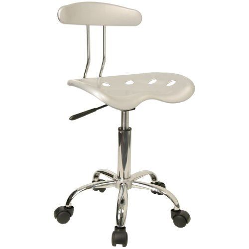 Vibrant Silver and Chrome Computer Task Chair with Tractor Seat [LF-214-SILVER-GG]