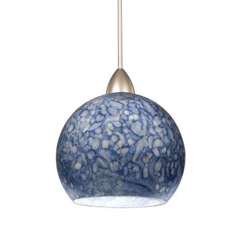 WAC Lighting MP-599-BL//BN Rhea 1-Light 12V MonoPoint Pendant with Blue Art Glass Shade Brushed Nickel Finish