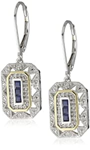 S&G Sterling Silver and 14k Yellow Gold Blue Sapphire with Diamond-Accent Art Deco Style Drop Earrings (0.13 cttw, I-J Color, I2-I3 Clarity)