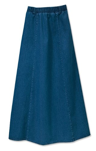 Vintage Denim Pull-on Skirt / Petite, Dark Indigo, Medium