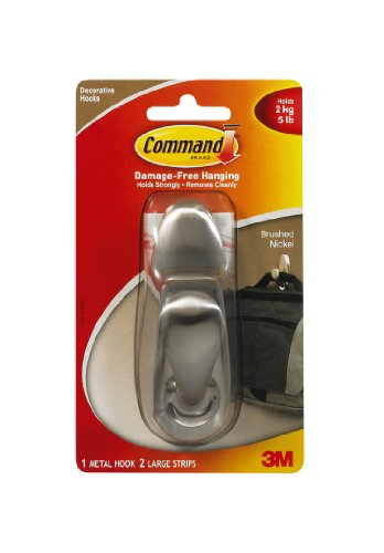 Command Forever Classic Large Metal Hook, Brushed Nickel