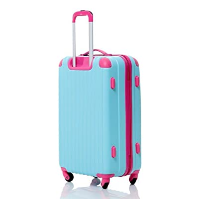 "(BTM) L34cm x W50cm x D24.5cm approx (3.6KG) Holiday 20"" Blue&Rose Hard Shell ABS Wheeled Adjustable Handle Suitcase Travelhouse Travel Hand Luggage Bag Cabin Trolley"