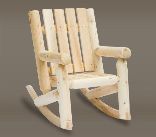 Handcrafted Junior Kids Outdoor Patio Natural Cedar Wooden Log Rocking Chair front-793441