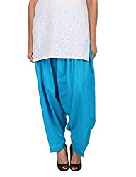 Womens Cottage Turquoise Pure Cotton Semi Patiala Bottoms