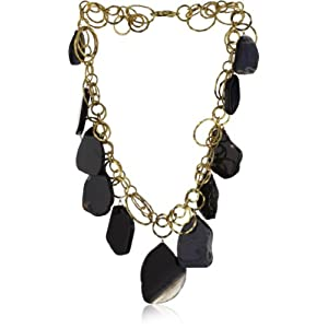 Devon Leigh Black Agate 18k Plated Necklace, 19