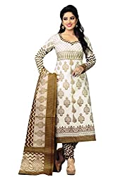 Salwar Studio White & Bronze Green Cotton Geometric, Paisely Printed Dress Material SHREEGANESH-938