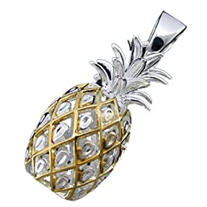 925 silver two tone large pineapple pendant hawaiian
