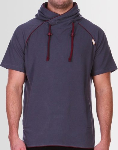 Kear and Ku Mens Boxer Hoodie Grey : Charcoal - Burgundy - L